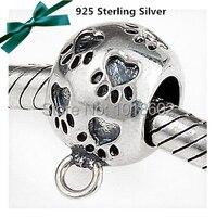 1 pc/lot 925 sterling silver oryginalność serce psa stóp charm akcesoria dla european fashion biżuteria naszyjnik bransoletka vk2763