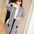 Nuevo Coreano chaqueta de punto con capucha capa del viento colegio femenino suéter largo colegio viento marea 8020