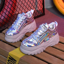 Daddy Shoes Silver Sneakers Womens Shoes Spring New Thick Bottom Platform Sneakers Lace Up Women Shoes Woman Zapatos De Mujer