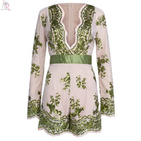 Green Sequined Bling Bling Long Sleeve Romper Playsuit Floral Slim Casual Sexy Deep V Neck 2016