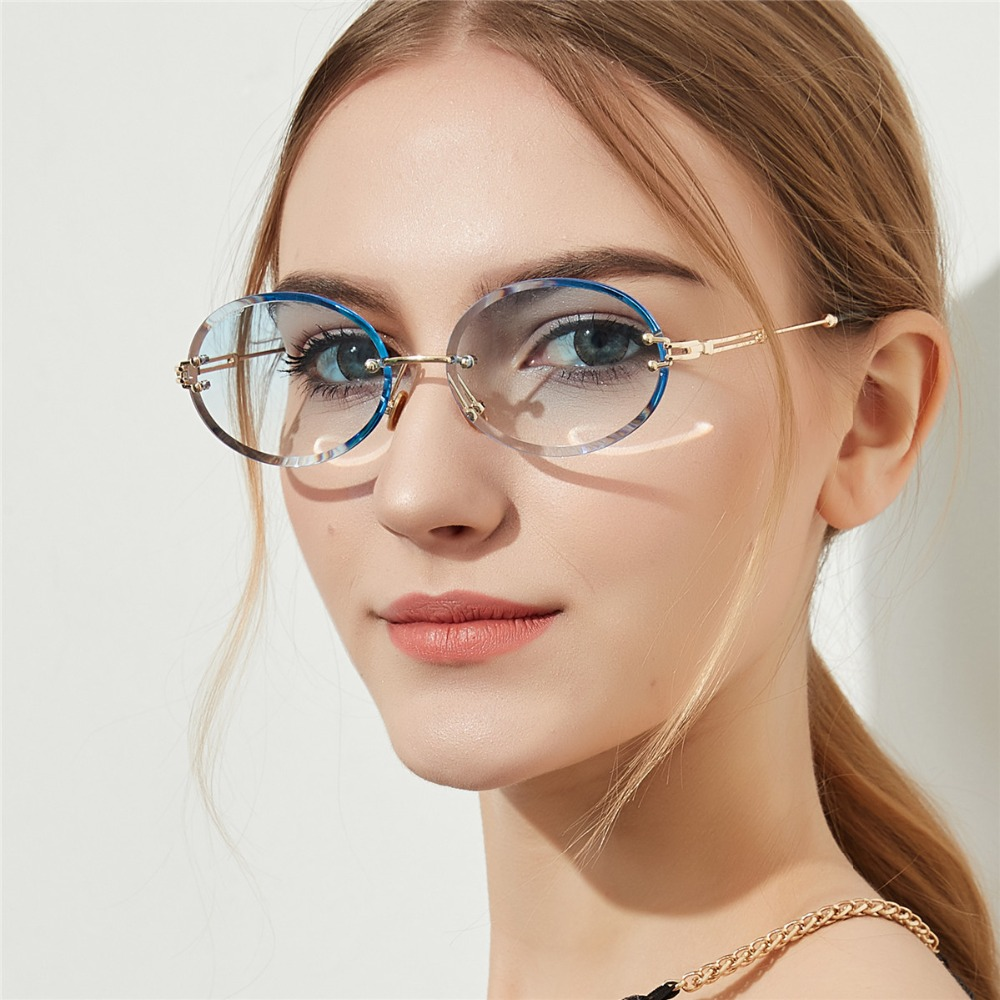 2018 New Diamond Cut retro Oval Sunglasses Female Crystal Texture Glasses no Border Sunglasses Ladies Gradient Fashion Sunglasse