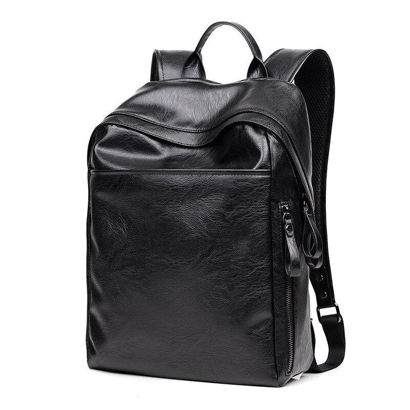 Fashion Men Black Backpack Leather Bag Men Travel Backpack Laptop Students High Quality Male Backbag Shoulder Bag