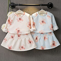 Girls Long Sleeve set 2016 New arrived spacewadding floral printed pullover tops + skirt sweet 2-7 years spring autumn clothing