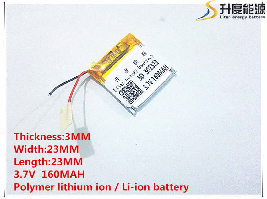 1 PCS free shipping 3.7V small clip battery 032323 302323 160MAH BT3030 Bluetooth headset battery best battery brand free shipping 401 030 421 030 bluetooth headset bt2020 bt500v 3 7v battery 100mah