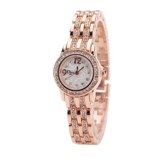 Top Brand Women Bracelet Watch Alloy Quartz Watches Ladies Fashion Luxury Gold W