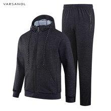 Varsanol hommes vêtements de sport à manches longues Survetement Homme 2  pièces ensembles hommes Sweatshirts veste + pantalon Ho. 002b948391b7