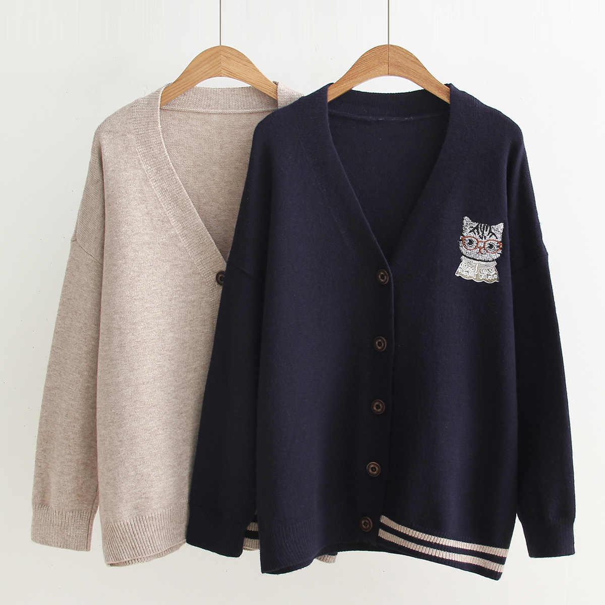 모리 소녀 가을 스웨터 여성 preppy 스타일 솔리드 v-목 knited 만화 고양이 자수 여성 부드러운 따뜻한 스웨터 카디건 u036