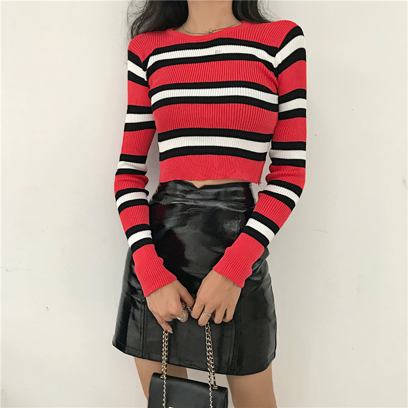 New Autumn Women Striped Sweater O-Neck Cropped Sweater Pullover Crop Top For Female DX9795