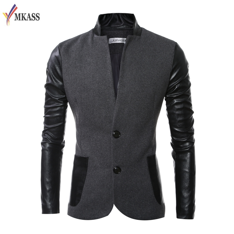 2017 Autumn Fashion Mens Patchwork New Casual Stand Collar Jacket Coat Slim Male Trench Coat High Quality M-3XL