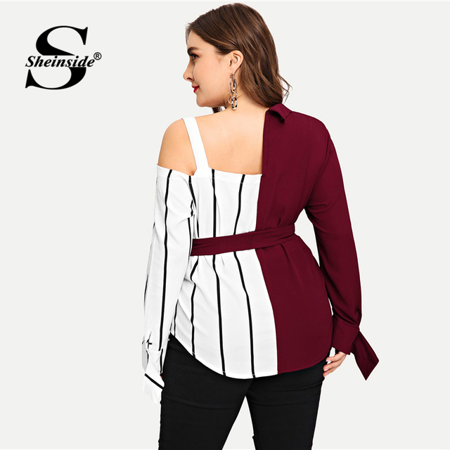 Sheinside Plus Size Striped Panel Open Shoulder Women Blouse Belted Long Sleeve Ladies Tops Elegant Asymmetrical Neck Blouses 1
