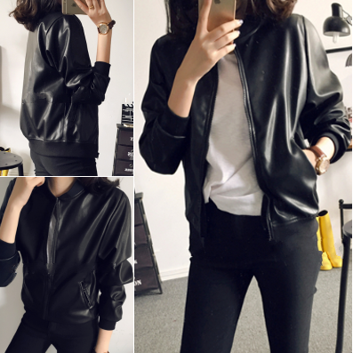 2017 spring new Korean version of the Slim was thin leather motorcycle leather jacket jacket short jacket tide women students