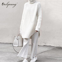Onlyoung Oversized 2018 Autumn Winter Long Turtleneck Sweaters Knitwear Black White Women Sweaters and Pullovers