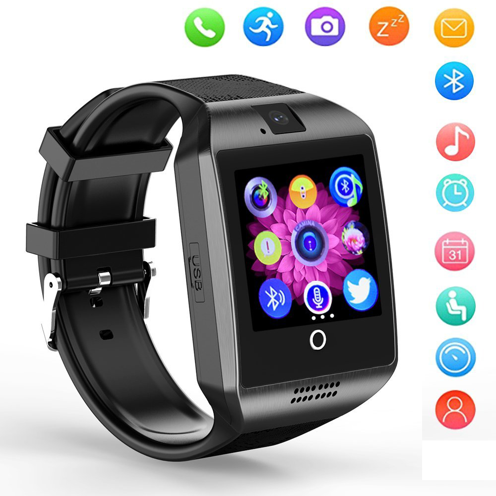 PLYSIN Q18 Bluetooth Smart Watch Touchscreen Smartwatch with  SIM Card Slot Camera Compatible Android iOS Phones for Men Women