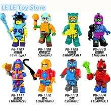 8pcs lot PG8094 Super Heroes HE Man MASTERS Evil Lyn Whipcash Trap Jaw Manaface Beastman Building