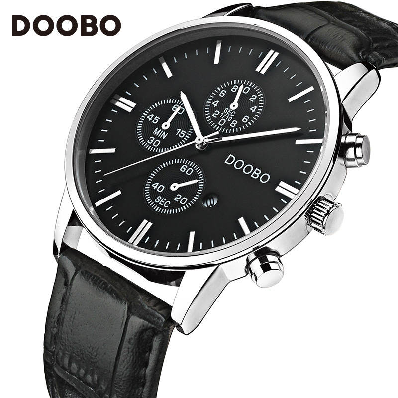 DOOBO Luxury Brand Military Business Watches Men Quartz-Watch Analog Leather Clock Man Sports Army Watches Relogios Masculino quartz watch mens luxury crocodile faux leather analog blu ray business wrist watches clock men relogios masculino best gift
