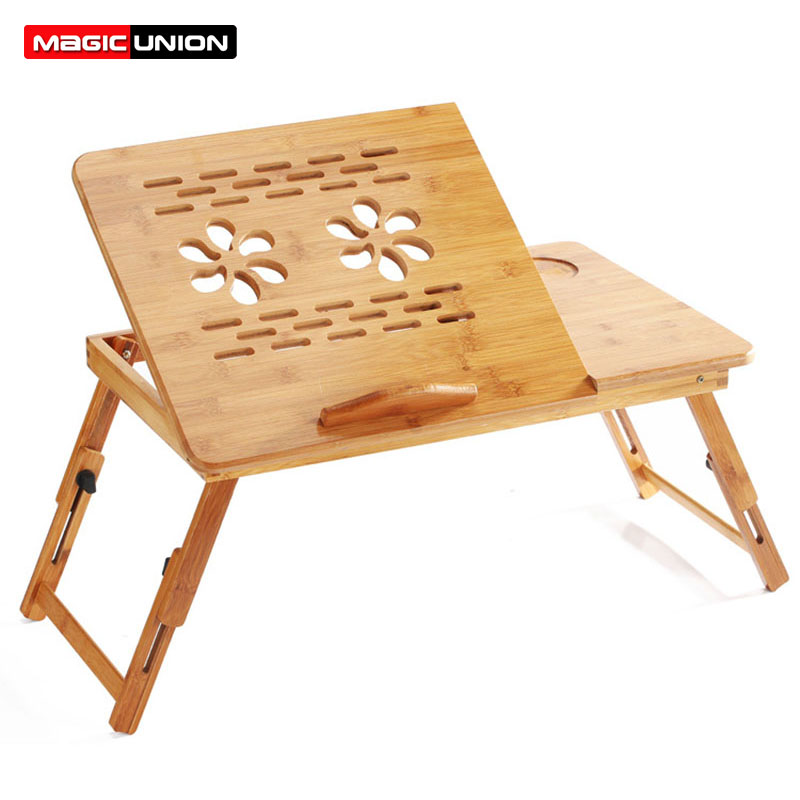 MAGIC UNION Foldable Wooden Bamboo Laptop Stand Desk Tea Serving Bed Dining Table Laptop Table Holder
