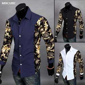 MIXCUBIC Autumn Dynamic Splicing long-sleeved flower shirts men casual slim fit printed Mixed colors shirts for men,size M-2XL