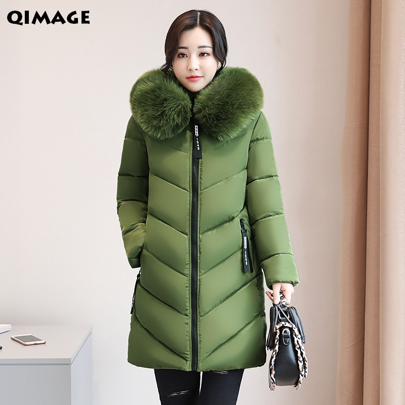QIMAG 2017 Winter Big Fur Hood Parkas Female Large Size Thicking Warm Women Coats Cotton Wadded