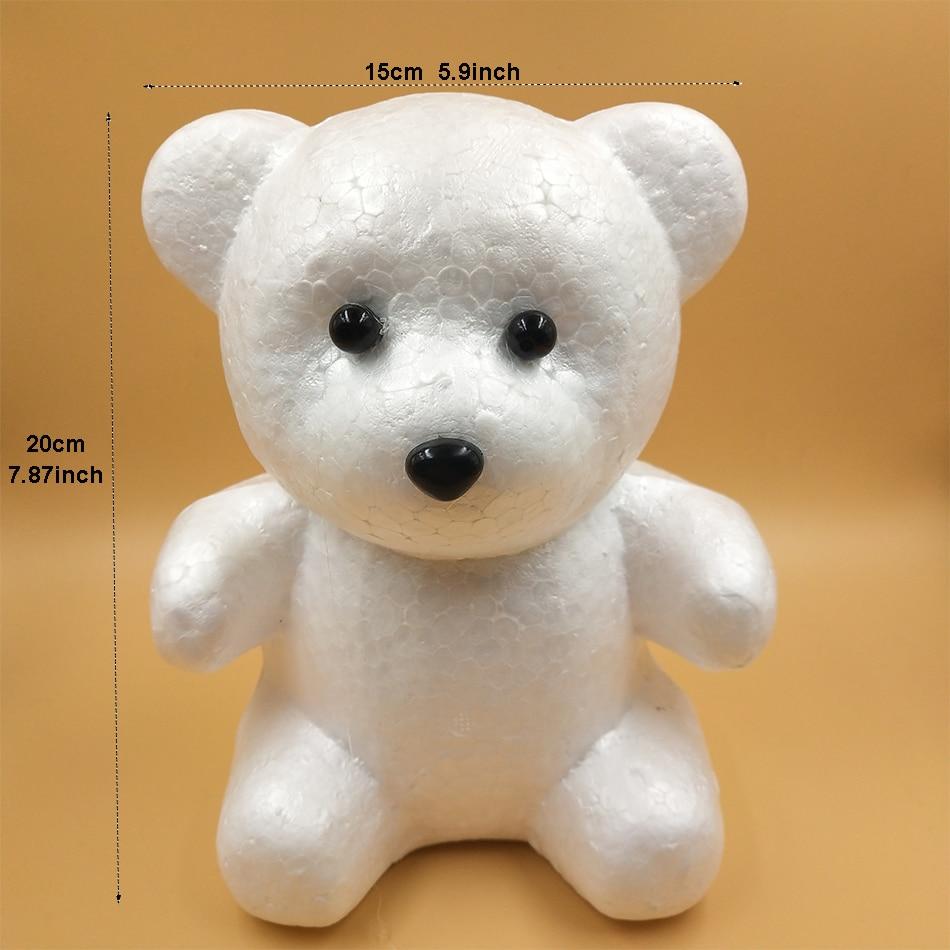 US $1 52 49% OFF|1pc 20cm Foam Bear Modelling Foam Heart White Craft Foam  Balls DIY Gifts For Girlfriend (Nose & Eyes For Free Gift)-in Party DIY