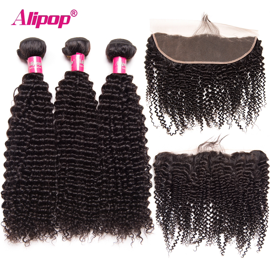 Kinky Curly Brazilian Hair Weave Bundles Lace Frontal Closure With Bundles Human Hair 3 Bundles With Closure ALIPOP Remy 4PCS