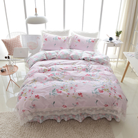 Cotton lace bed set duvet cover twin queen king size Bedding set quilt cover bed sheet set bed skirt pillowcases 38