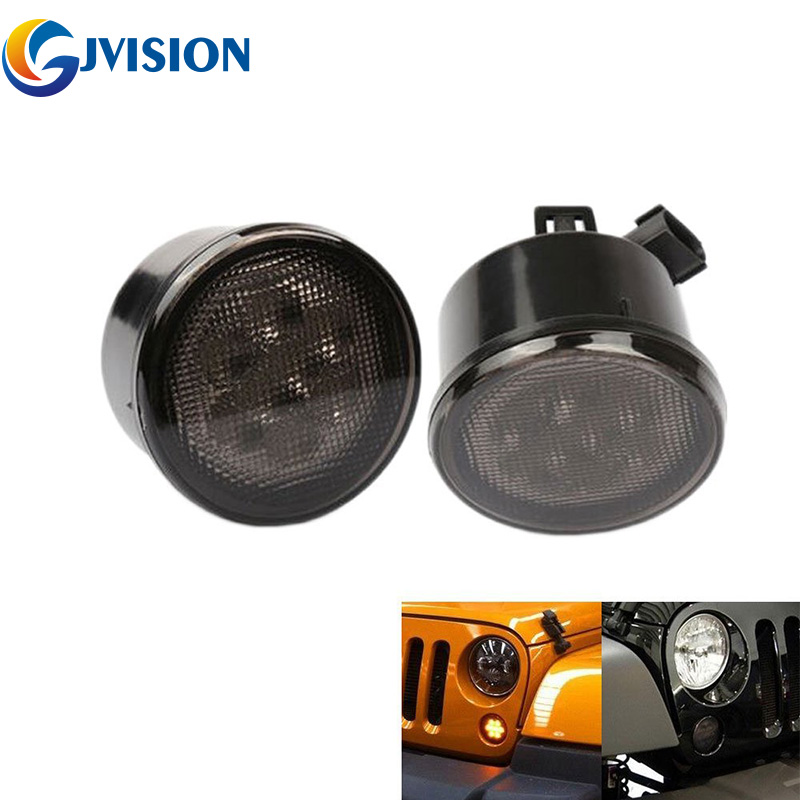 2 PCS LED Turn Signal Front Light Assembly With Smoke Lens for 07-16 Jeep Wrangler JK led Front Blinker for jeep wrangler jk anti rust hard steel front