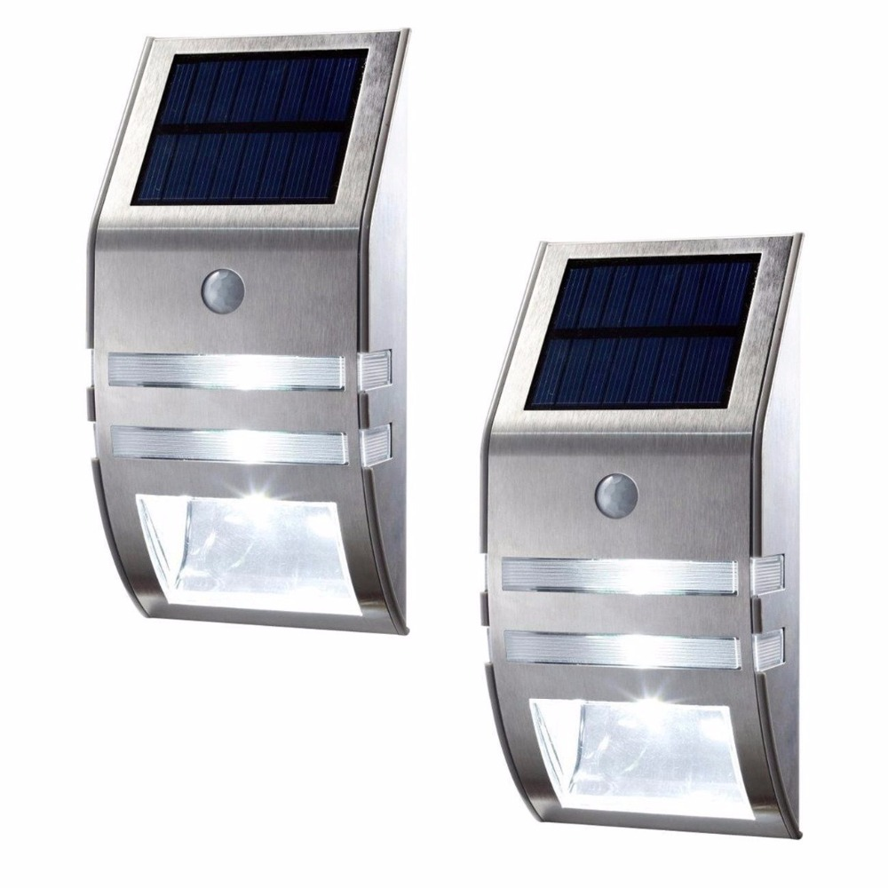 1pcs outdoor waterproof stainless steel 2leds motion PIR sensor solar wall white led street lamp for garden yard pathway deck.