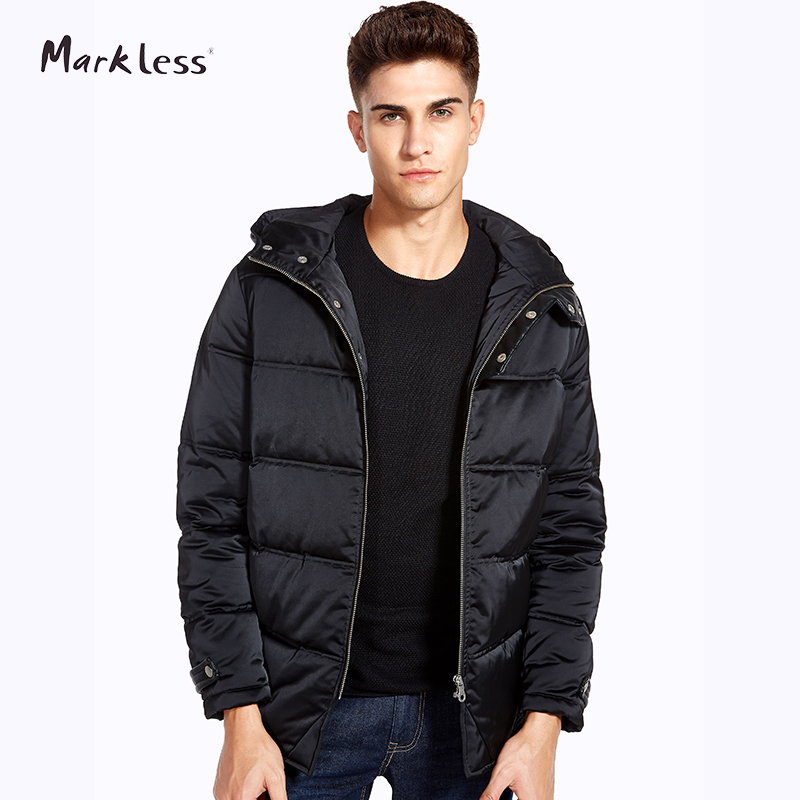 Markless Winter Hooded Men Cotton Coats Brand Clothing Casual Black Jackets Men Rib Sleeve Outwear Men