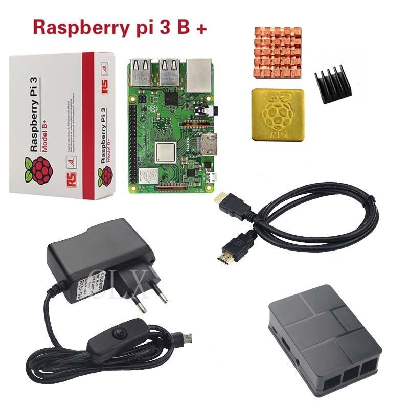 Raspberry Pi 3 Model B+ ( B Plus ) or Raspberry Pi 3 Model B+ABS Case+Heat Sink+Power Adapter+HDMI Cable мини пк raspberry pi 3 model b plus