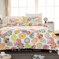 Free shipping 3pcs 100%cotton American style summer air conditioning patchwork quilt full queen size boho floral bedspread