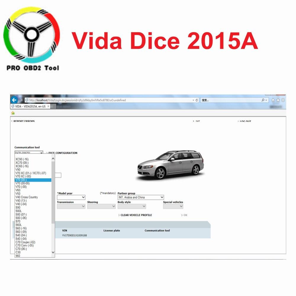 2019 date 2015A pour Volvo Vida Dice 2014D 2015A pleine puce CD avec Dongle outil de Diagnostic Vida Dice 2015A ajouter plus de modèles de voiture