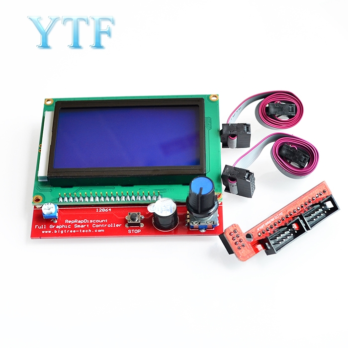 12864 Display LCD  Controller +Adapter For RAMPS 1.4 Reprap Mendel GM 3D Printer Parts
