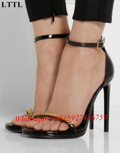 67a592f933ed Lttl usine artisanat femmes or chaînes embelli sandales sexy peep toe  talons hauts boucle sangle sandales