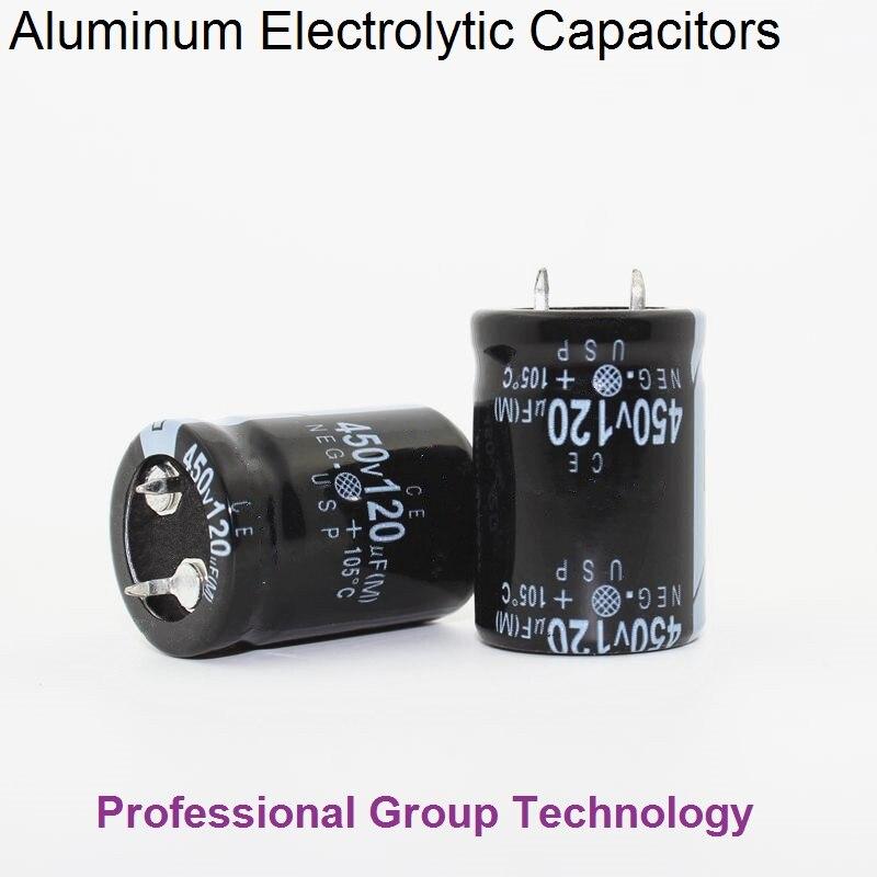 1pcs RH2 Good Quality 450v120uf Radial DIP Aluminum Electrolytic Capacitors 450v 120uf Tolerance 20% Size 22x30MM 20%