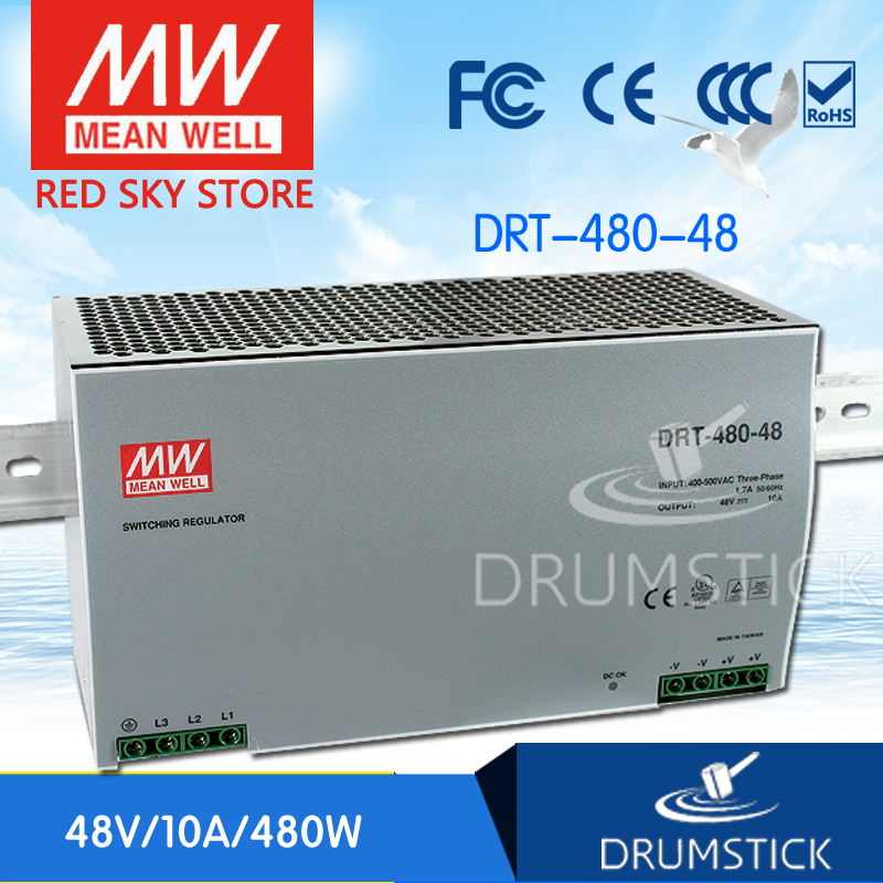 цена на Genuine MEAN WELL DRT-480-48 48V 10A meanwell DRT-480 48V 480W Single Output Industrial DIN RAIL Power Supply