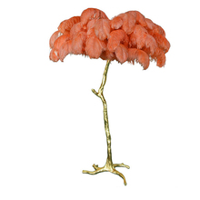 Modern Luxury Ostrich Feather Led Floor Lamp E14 Light Copper Living Room Hotel Lighting Standing Lamps