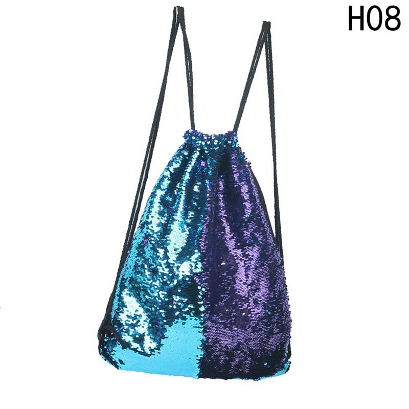 Mermaid Sequin Backpacks Glittering Shoulder Bags Reversible Glitter Drawstring Backpacks Women Beach Bags