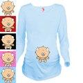 """"""" Младенцы жимолость """" прятки серии стандартов для беременных женщины ума 100% хлопок для беременных длинная футболки"""
