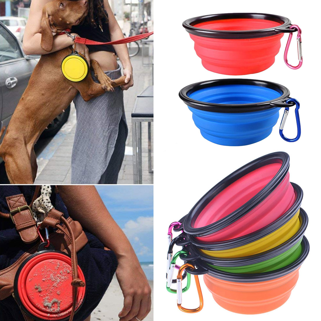 Pet Products Dog Feeding 6 Colors New Four-layer Collapsible Foldable Silicone Dog Bowl Candy Color Outdoor Portable Puppy Pet Food Container Feeder Dish