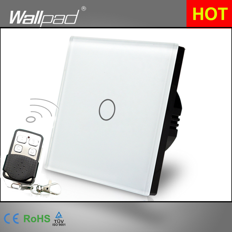 EU UK Dimmer Remote 110V-250V Wallpad White Glass Touch RF433 1 Gang Dimmer For LED Wireless Remote Wall Switch Free Shipping