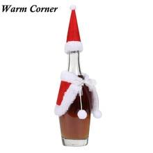 1 комплект Санта-Клауса рождественское красное вино набора парфюмных крышка с рождественской шляпой одежда свадебные подарки Окт 26