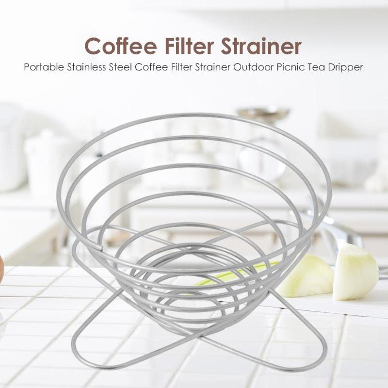 Foldable Stainless Steel Coffee Filter Tea Holder Strainer Dripper for Outdoor Picnic Camping Home Office Coffeeware