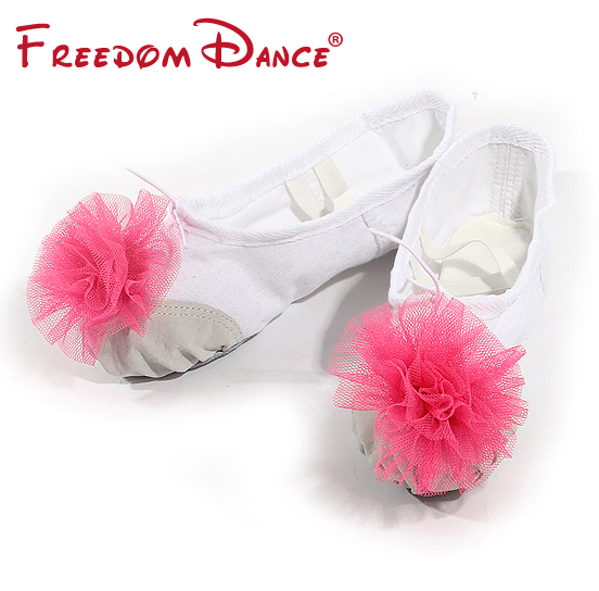 Blomster dekoreret lærred split soler kvinder ballet slippers bløde alene piger ballet dansesko børn fitness sko gratis forsendelse