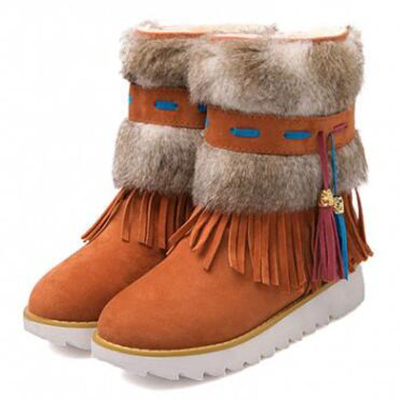 Snow boots 2016 Warm women Winter boots With Fur ankle boots with tassel  snow boots cotton padded  platform Winter shoes 7D47 2016 rhinestone sheepskin women snow boots with fur flat platform ankle winter boots ladies australia boots bottine femme botas