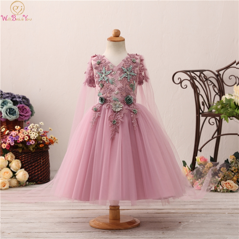 2019 Short Sleeve Ball Gown   Flower     Girls     Dresses   For Wedding Elegant V Neck Appliques With Shawls Evening Party vestido Gowns