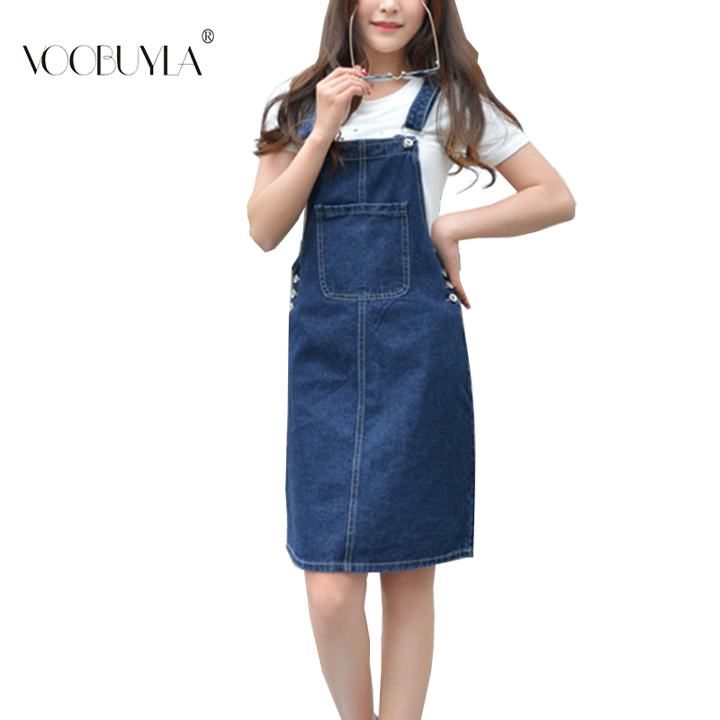 Voobuyla Summer Women Denim Dress Sundress Casual Loose Overalls Dresses Female Solid Adjustable Strap Jeans Dress Plus Size 4XL