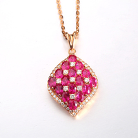 Luxury Fine Jewelry 18K Rose Gold Squre Shape Pendants Natural Burmese Ruby Necklace For Women Fashion