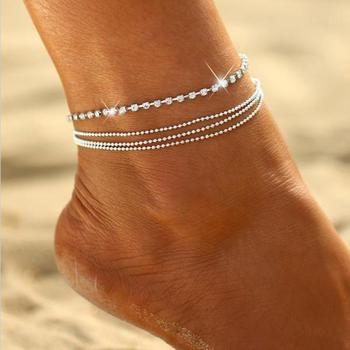 Women's Multi-layer alloy Chain Rhinestone Crystal Anklet Foot Chain