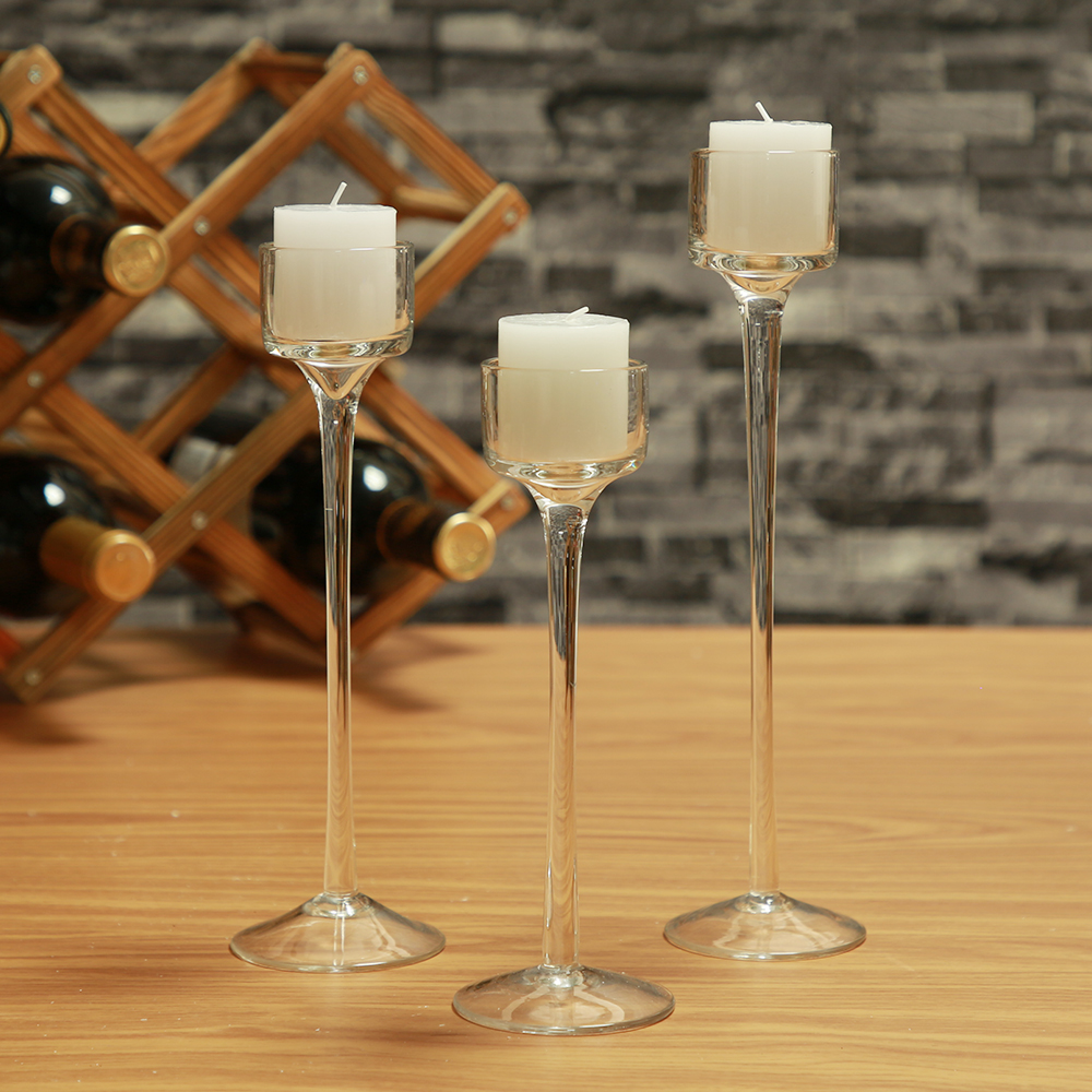 3pcs Set Crystal Glass Candle Holder Container Porta Velas
