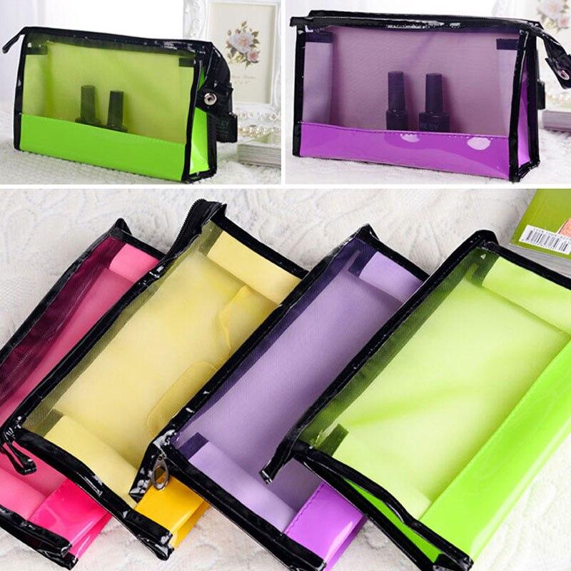 2016 Transparent Storage bag Women Cosmetics Mesh Case Clear Bag